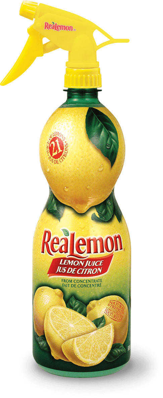 Bottle of ReaLemon lemon juice with spray bottle top
