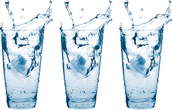 Three glasses with water and ice cubes
