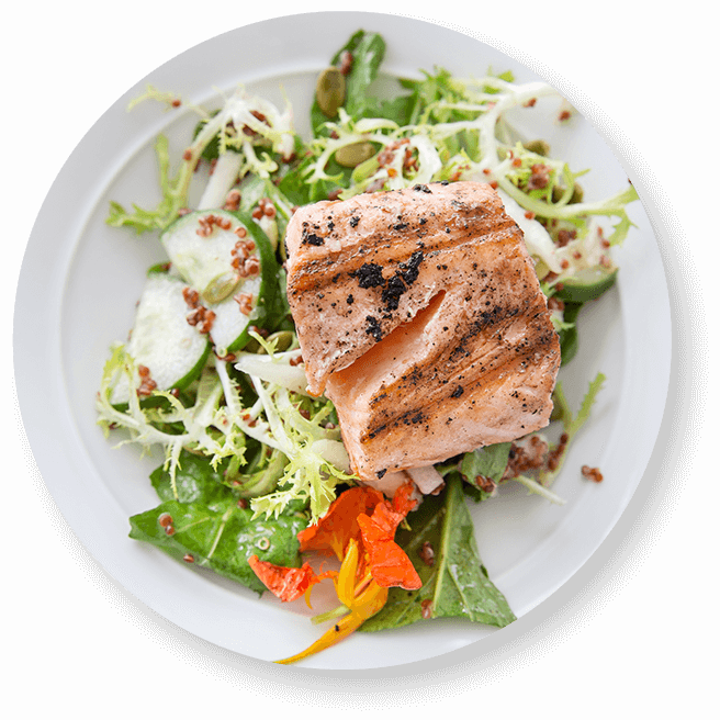 Plate with grilled salmon and salad with lemon mustard vinaigrette