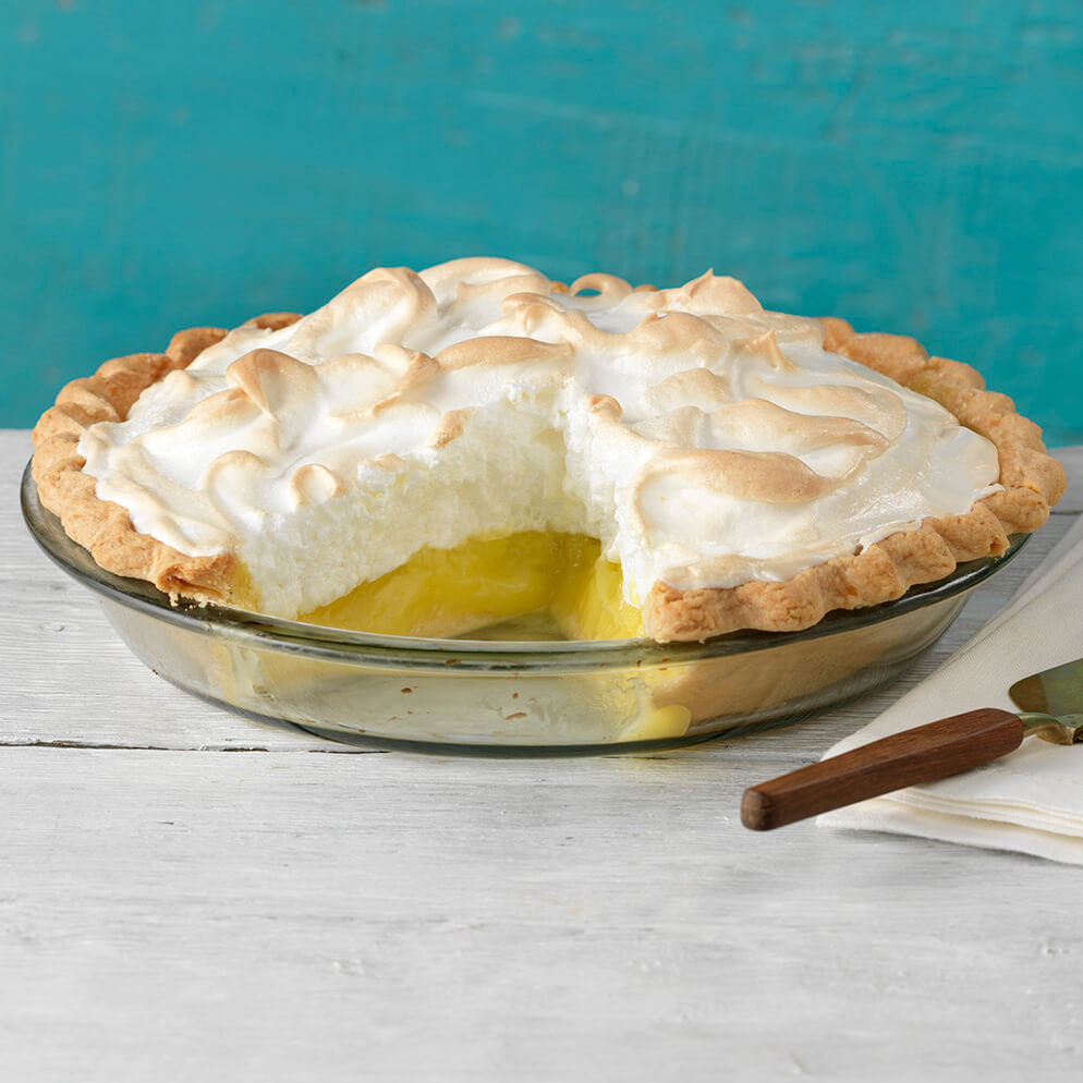 Classic Lemon Meringue Pie in pie plate recipe made with ReaLemon