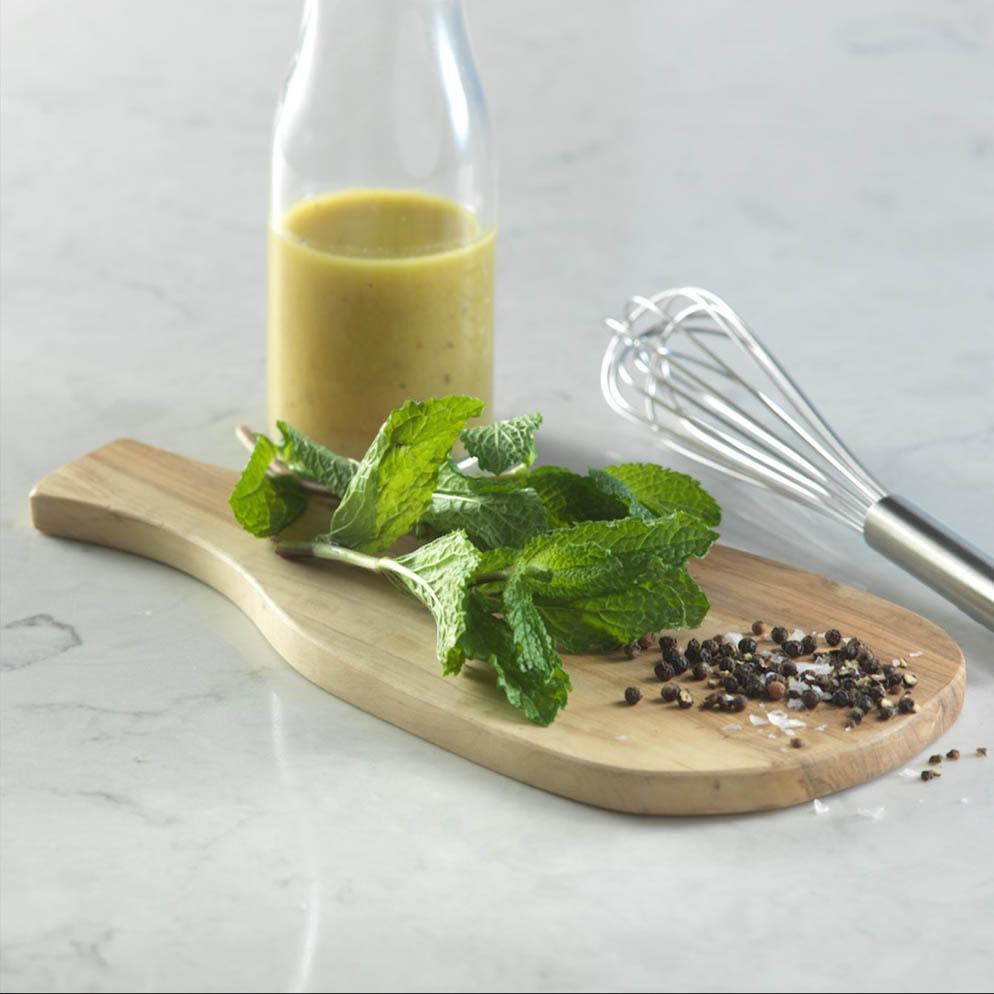 Easy Lemon Garlic Vinaigrette in jar recipe made with ReaLemon Flavour Infusions Garlic