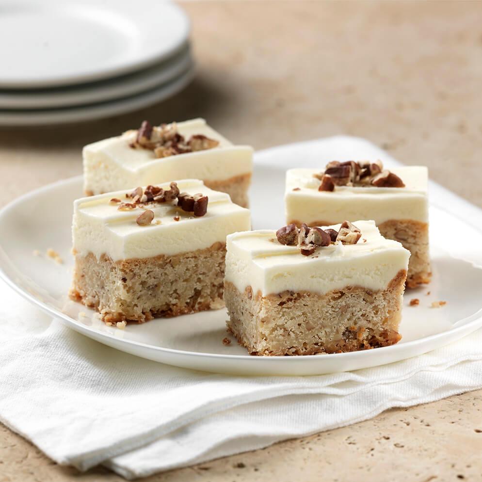 Lemon Pecan Shortbread Cookie Bars on plate recipe made with ReaLemon
