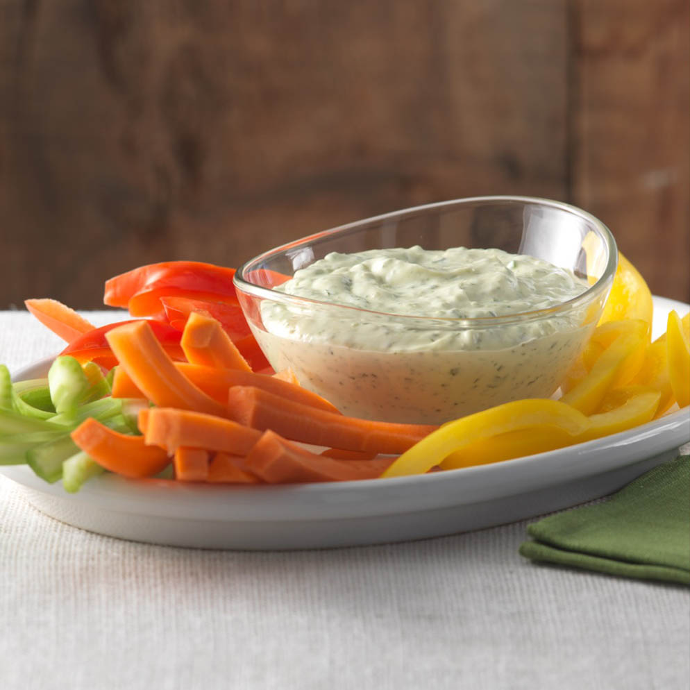 Lemon Salsa Verde Dip with cut vegetables recipe made with ReaLemon Flavour Infusions Garlic